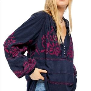 NWT Free People Persuasion top, navy combo